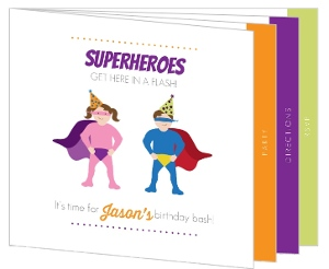 Superheroes Booklet Birthday Invitation