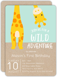 Brown Jungle Safari Kids Birthday Invitation