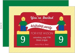 Red Block And Yellow Stripes Kids Birthday Party Invitation