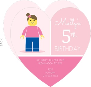 Pink Block Girls Birthday Party Invitation