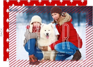 Red Foil Striped Frame Christmas Photo Card