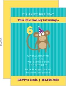 Turquoise And Yellow Monkey Invitation