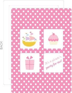 Pink Polka Dot Pirate Birthday Invitation