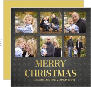 Merry Collage Foil Christmas Photo Card