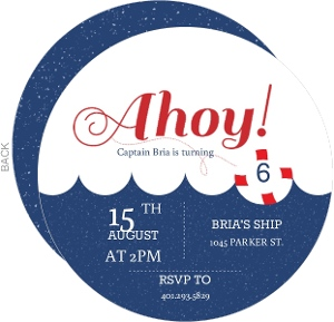 Red And Blue Waves Ahoy Nautical Kids Birthday Invitation