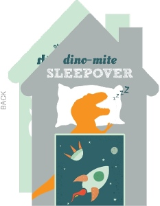 Slumbering Dinosaur Sleepover Birthday Invitation