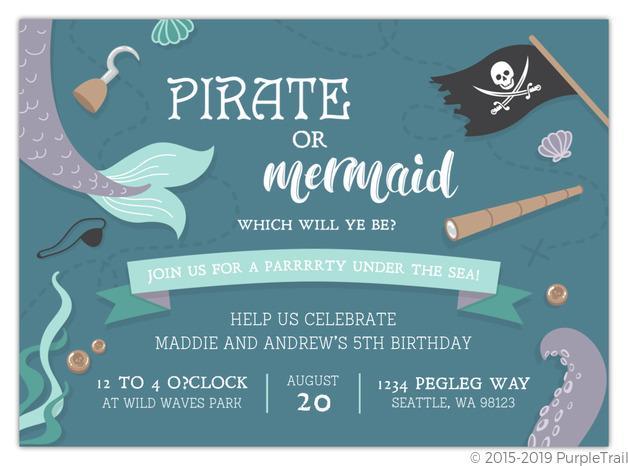 Pirate Treasure Birthday Party Invitations