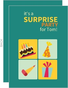 Turquoise And Yellow Surprise Party Invitations
