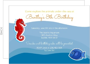 Fish And Seahorse Underwater Birthday Party Invitation