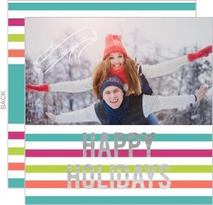Retro Stripes Foil Holiday Photo Card