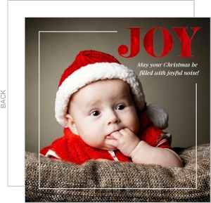Modern Red Foil Joy First Christmas Photo Card