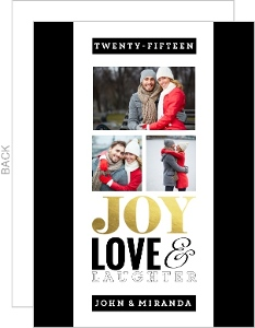Modern Typography Foil Christmas Photo Card
