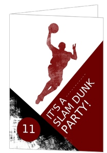 Red Basketball Birthday Party Invitation