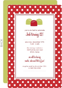 Red and White Dots Holiday Birthday Invitation