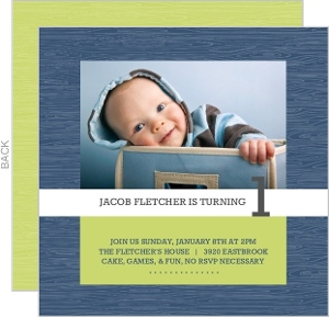 Navy And Green Photo 1St Birthday Party Invitations