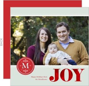Red Monogram Joy Christmas Photo Card