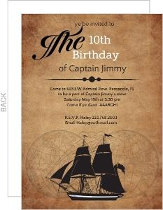 Pirate Ship Sailing Birthday Party Invitation