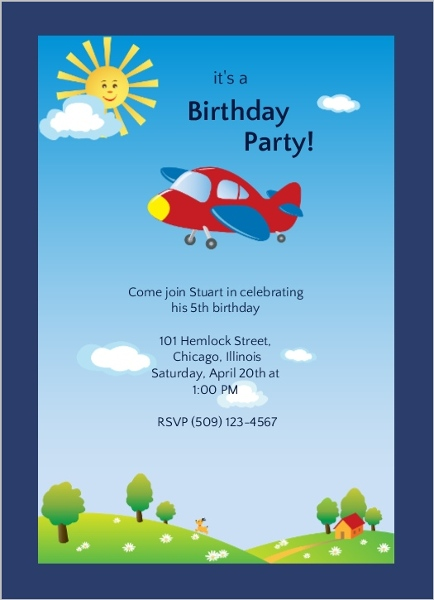 Sunny Skies Airplane Ride Boys Birthday Party Invitation Kids