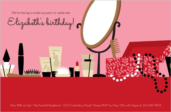 Red And Pink Make Up And Jewelry Girls Birthday Party Invitation – Jewelry Party Invite
