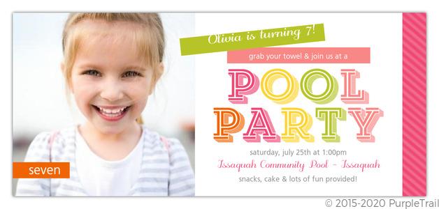 Colorful Washi Tape Pool Party Invitation