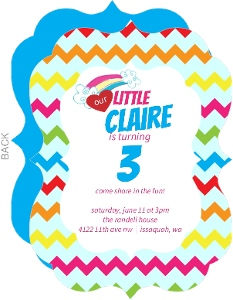 Chevron Rainbow Kids Party Invitation