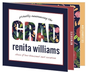 Whimsical Floral Pattern Graduation Booklet Invitation