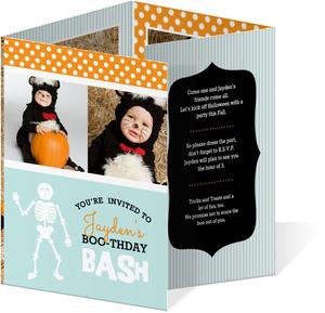Teal And Orange Photo Halloween Birthday Invite