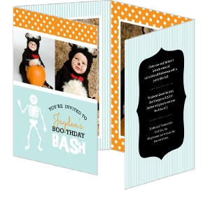 Teal And Orange Photo Halloween Birthday Invite