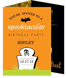 Green And Orange Tombstone Kids Halloween Birthday Party Invite