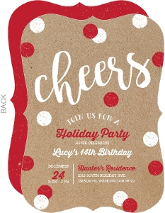 Dual Celebration Holiday Birthday Invitation