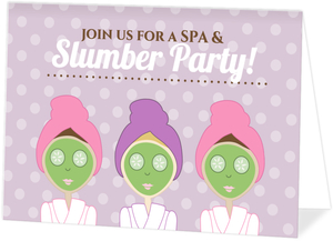 Purple Bubbles Girls Spa Birthday Invitation