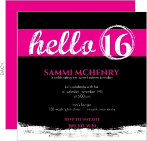 Hello Pink And Black Sweet 16 Birthday Invitation