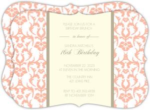 Peach Elegant 16Th Birthday Invitation