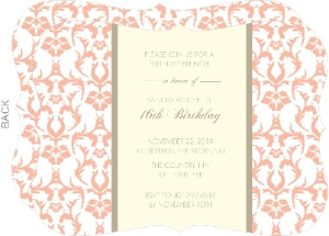 Peach Elegant 16th Birthday Invitation