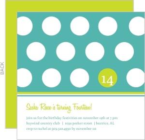 Turquoise And Green Polka Dot Birthday Invitation