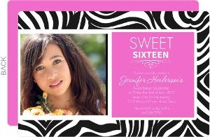Zebra And Pink Sweet Sixteen Birthday Invitation