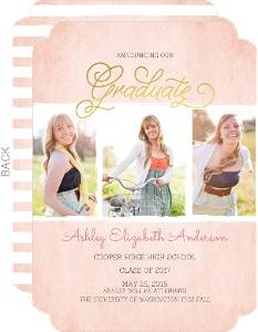 Gold Foil Pink Watercolor Graduation Announcement