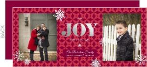 Snowflakes Silver Foil Joy Christmas Photo Card