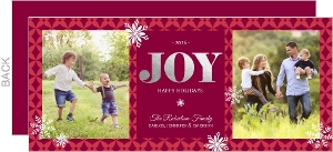 Snowflakes Silver Foil Joy Christmas Photo Card