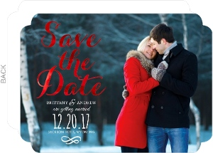 Red Foil Save the Date Script Announcement