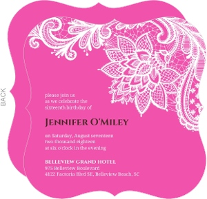 Pink And White Intricate Lace Sweet Sixteen Invitation