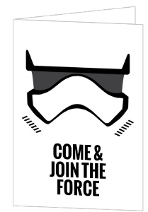Black And White Storm Trooper Star Wars Birthday Invitation