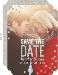 Foil Confetti Snow Save The Date Card