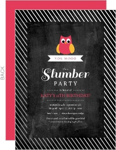 Silver Foil Stripes Owl Kids Birthday Invitation