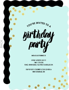 Golden Foil Confetti Tween Birthday Party Invitation