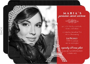 Red Paris Sweet Sixteen Birthday Invitation