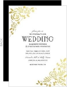 Formal Gold Foil Florals Wedding Invitation