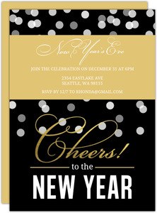 Black Confetti Foil New Years Invitation