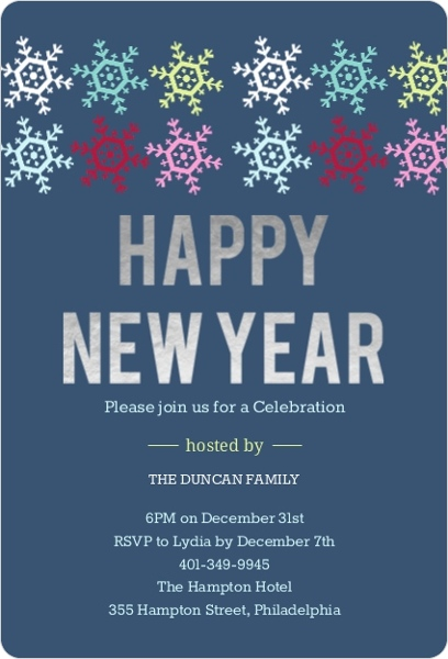 Winter Snowflakes Foil New Years Invitation