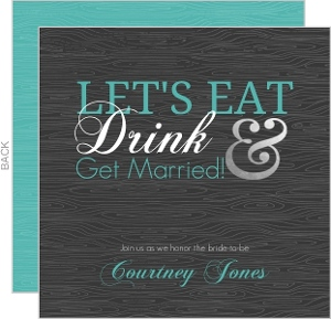 Eat Drink and Get Married Silver Foil Bridal Shower Invite